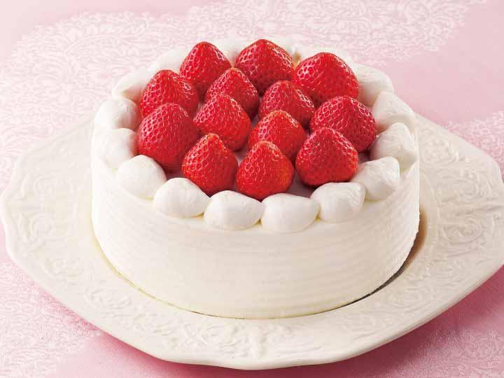 苺の生クリーム&カスタードのケーキ