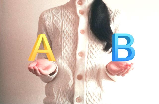 2つの選択肢を持つ女性の手