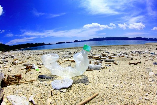 浜辺と捨てられたゴミ(脱プラスチックイメージ)