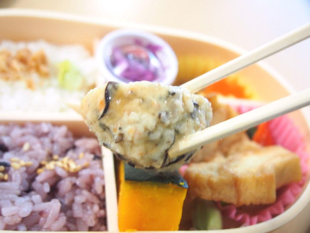 菜食弁当の豆腐ハンバーグ