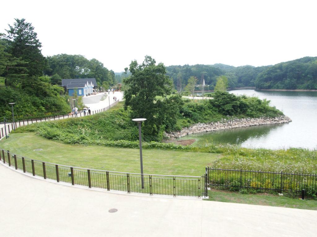 宮沢湖とムーミンバレーパークへ続く道