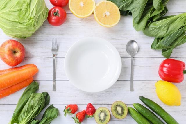 有機野菜とお皿 (ヴィーガン・ベジタリアンの食材通販サイトイメージ画像)