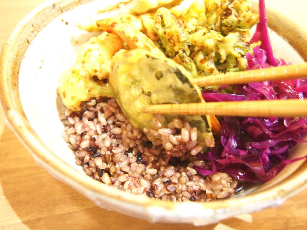 ベジ天丼と雑穀米